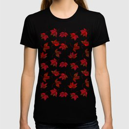 Red Leaves on Silver Golden Metal T-shirt