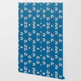 Simple White Flowers on Blue Wallpaper