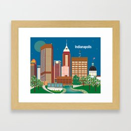 Indianapolis, Indiana - Skyline Illustration by Loose Petals Framed Art Print