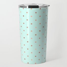 Mint & Rose Gold Polka Dot Pattern Travel Mug