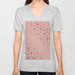 Pink and Gold Geometry 011 Unisex V-Neck