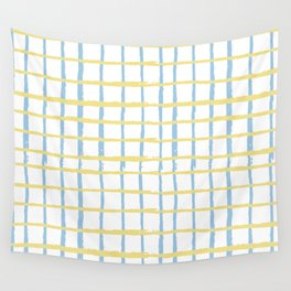 Pastel yellow teal watercolor geometrical checker stripes Wall Tapestry
