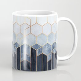 Soft Blue Hexagons Kaffeebecher