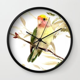 Lovebird, yellow green cute bird artwork Wall Clock