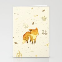 sad Stationery Cards featuring Lonely Winter Fox by Teagan White
