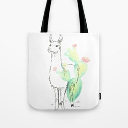 Llama cactus ink and watercolor Tote Bag