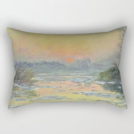 "Claude Monet ""Sunset on the Seine in Winter"" Rectangular Pillow"