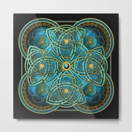 Celtic Cross Tapestry in Gold and Teal Metal Print