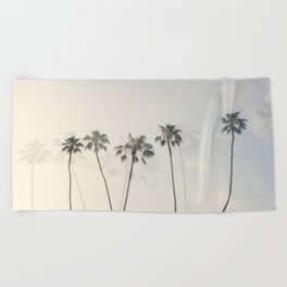 Double Exposure Palms 1 Beach Towel