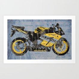 Honda Repsol newspaper collage, original art for men, gift for him, blue, yellow Art Print