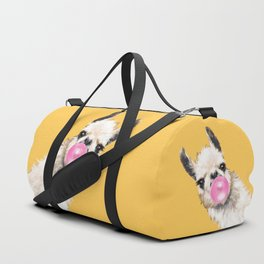 Bubble Gum Sneaky Llama in Yellow Duffle Bag