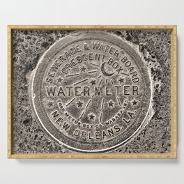 Sepia New Orleans Water Meter Louisiana Crescent City NOLA Water Board Metalwork Serving Tray