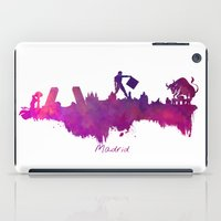 madrid iPad Cases featuring Madrid skyline by jbjart