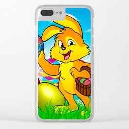Easter bunny rabbit with Easter basket Clear iPhone Case