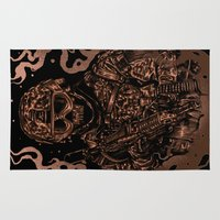 military Area & Throw Rugs featuring Military skull by barmalisiRTB
