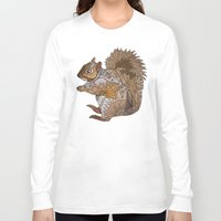 woodland Long Sleeve T-shirts featuring Woodland Squirrel by ArtLovePassion