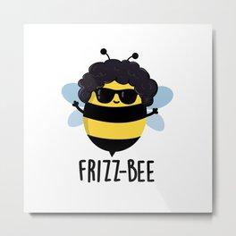 Friz-bee Cute Afro Hairdo Bee Pun Metal Print
