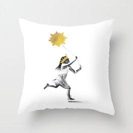 Sun Girl (b/w) Throw Pillow