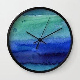Abstract Blue Horizontal Stripes Watercolor Texture Wall Clock