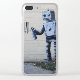 Banksy Robot (Coney Island, NYC) Clear iPhone Case