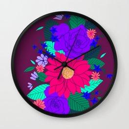 Floral Garden - Plum Wall Clock