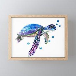 Sea Turtle, blue purple illustration children room cute turtle artwork Framed Mini Art Print