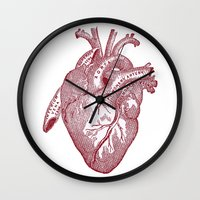 anatomical heart Wall Clocks featuring anatomical heart by Kristian