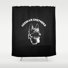 German Shepherd black and white illustration Shower Curtain