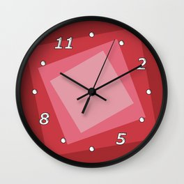 Red squares. Simple geometric background with a light center for your website or business card. Wall Clock