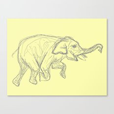 Elephant Swimming Gestural Drawing Canvas Print