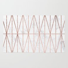 Modern geometric triangles faux rose gold pattern on white marble Rug
