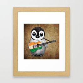 Baby Penguin Playing Indian Flag Acoustic Guitar Framed Art Print