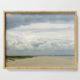 cloudy day at the beach in the netherlands   nature photo   fine art photo print   travel photo Serving Tray