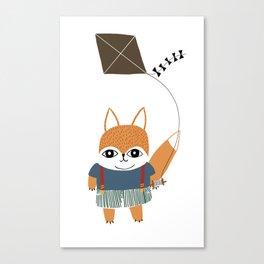 Fox Boy Flies a Kite  Canvas Print