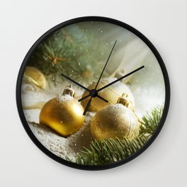 Gold Christmas Ornaments in Snow with Garland & Warm Glory Light Wall Clock