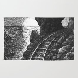 Coast train at sunrise Rug