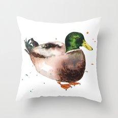 Duck painting, duck art, bird illustrations, birds, mallard Throw Pillow