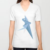crane V-neck T-shirts featuring Crane by Kelly Stahley Designs