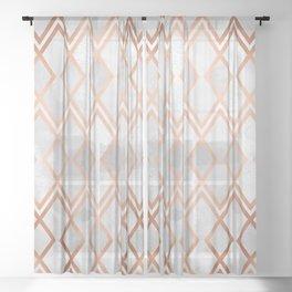 Copper & White Geo Diamonds Sheer Curtain