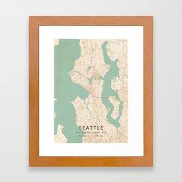 Seattle, United States - Vintage Map Framed Art Print