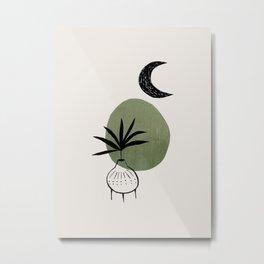 Olive Green Minimalist Mid Century Modern Vase Plant Pot Moon Ancient Ruin by Ejaaz Haniff Metal Print
