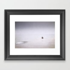 Happy children playing in the silver sea Framed Art Print