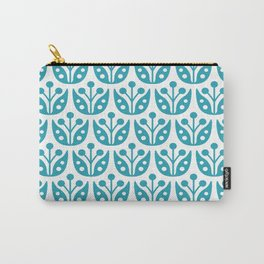 Mid Century Modern Flower Pattern 732 Turquoise Carry-All Pouch