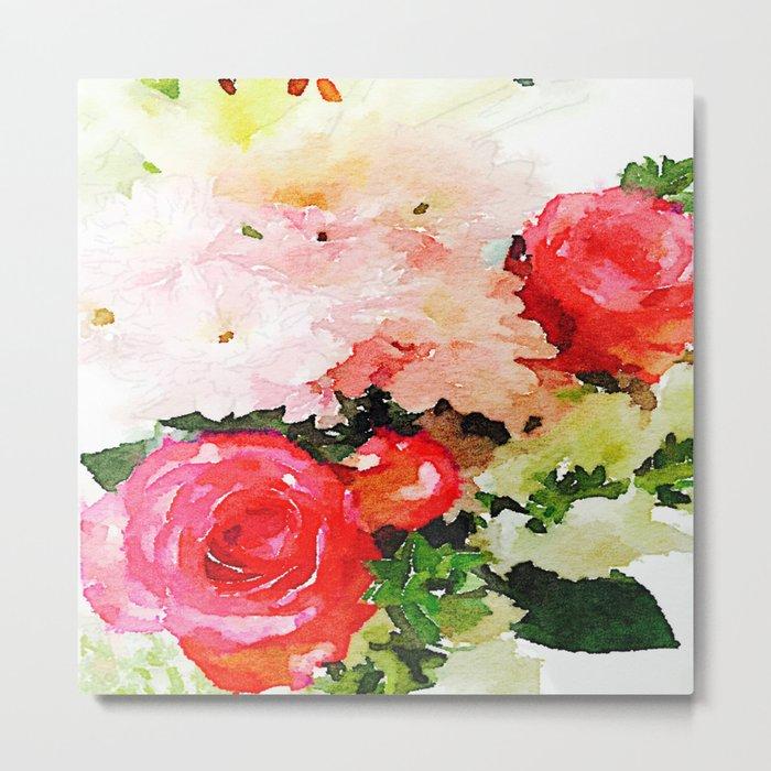 Garden Roses Watercolor Metal Print