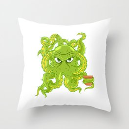 A Cute Greeny Cactus Plant Tee For You With Illustration Of A Cactus Beautiful Female Octopus Throw Pillow