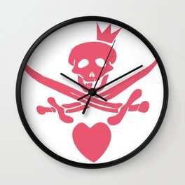 Funny pink glamorous Jolly Roger flag with swords, heart and crown Wall Clock
