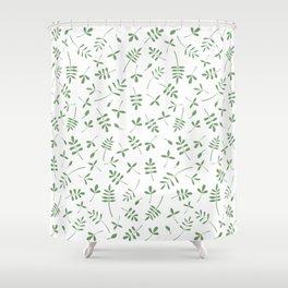 Green Leaves Design on White Shower Curtain