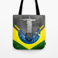 brazil Tote Bags featuring Flags - Brazil by Ale Ibanez