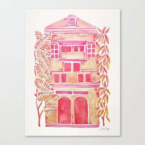 Tropical House – Pink Ombré Canvas Print