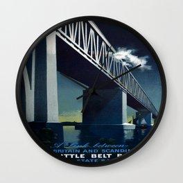Vintage poster - Little Belt Bridge Wall Clock